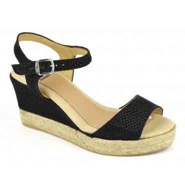Espadrilles, sandales compensées, cuir pailleté, noires, Agnes-GS, Toni Pons