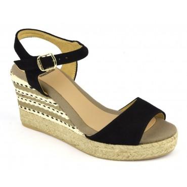 Espadrilles, sandales compensées, cuir daim, noires, Alexia, Toni Pons