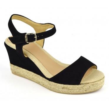 Espadrilles, sandales compensées, cuir daim, noires, Agnes-GS, Toni Pons