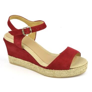 Espadrilles, sandales compensées, cuir daim, rouges, Agnes-GS, Toni Pons