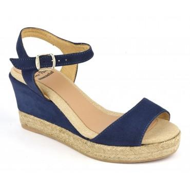 Espadrilles, sandales compensées, cuir daim, bleu marine, Agnes-GS, Toni Pons