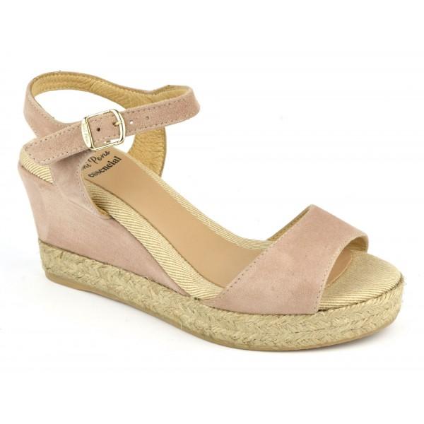 Espadrilles, sandales compensées, cuir daim, nude, Agnes-GS, Toni Pons