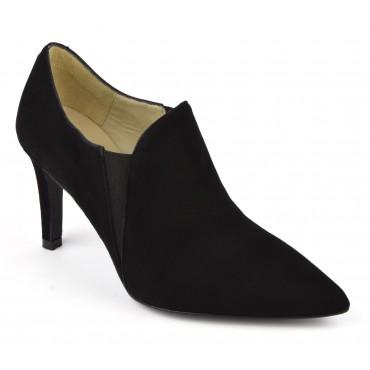 Bottines low boots, cuir daim noir, F2384
