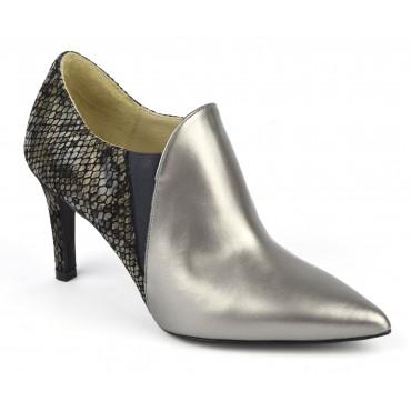 Bottines low boots, cuir métallisé argent, F2384