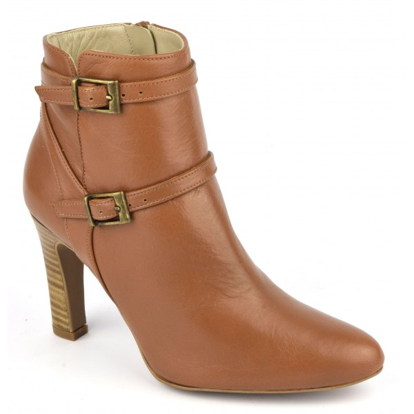 Bottines cuir mat cognac, F2398