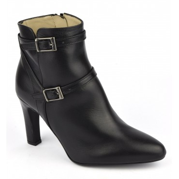 Bottines cuir mat noir, F2398