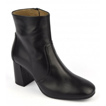 Bottines cuir mat noir, F2437