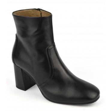 Bottines cuir mat noir, F2437