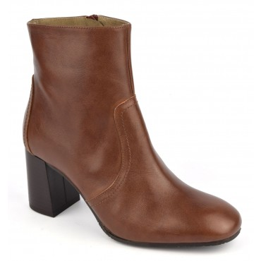 Bottines cuir mat marron, F2437