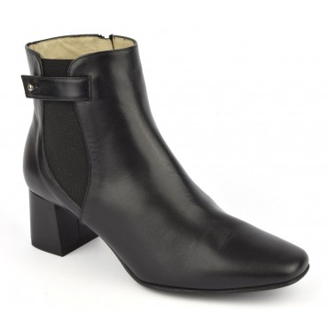 Bottines cuir mat noir, F2344