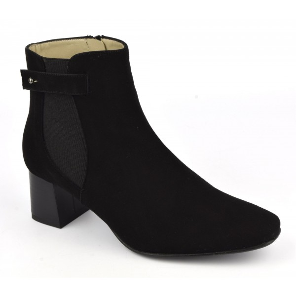 Bottines cuir daim noir, F2344