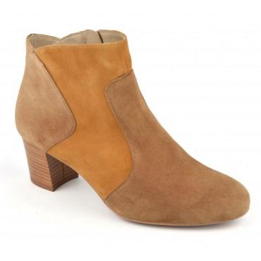 Boots bicolores cuir daim, camel et miel, F2366
