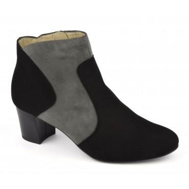 Boots bicolores cuir daim, noir et gris, F2366