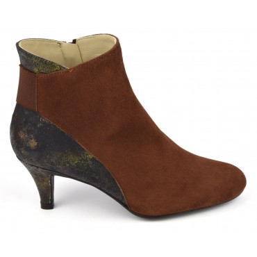 Bottines, cuir daim, marron, F2407