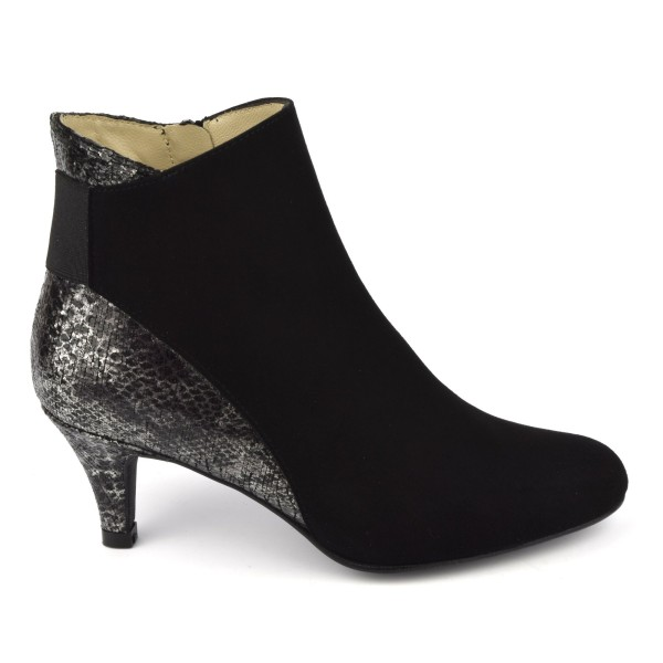 Bottines, cuir daim, noir, F2407