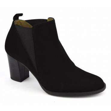 Bottines, cuir daim, noir, F2426