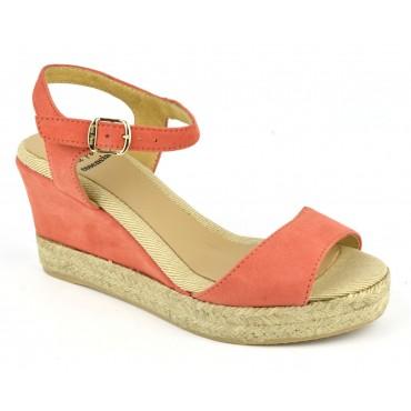 Espadrilles, sandales compensées, cuir daim, orange mangue, Agnes-GS, Toni Pons