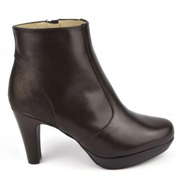 Bottines plateforme, cuir lisse marron foncé, Brenda Zaro, F97510, Lady