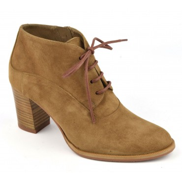Bottines à lacets, daim camel, F2425