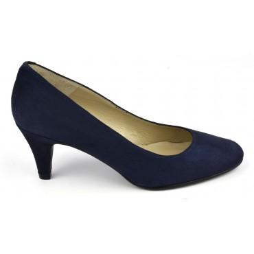 Escarpins cuir daim, bleu marine, talon 6.5 cm, F96136