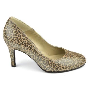 Escarpins cuir imprimé léopard luisant, talons 8 cm, F96559