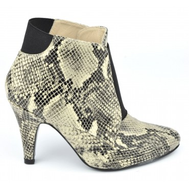 Bottines cuir serpent, beiges, MI-602