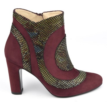 Bottines Indiana, cuir daim bordeaux et cuir serpent bordeaux, MI-105