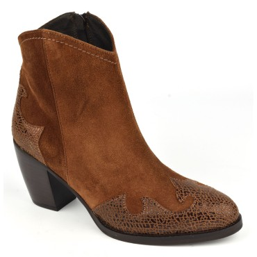 Bottines style country, cuir daim frotté marron, 5686, Plumers