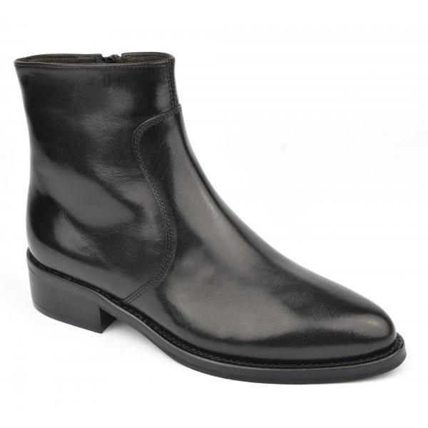 Bottines style cavalières, cuir mat noir, 5612, Plumers