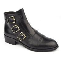 Bottines style rock, cuir mat noir, 5583, Plumers