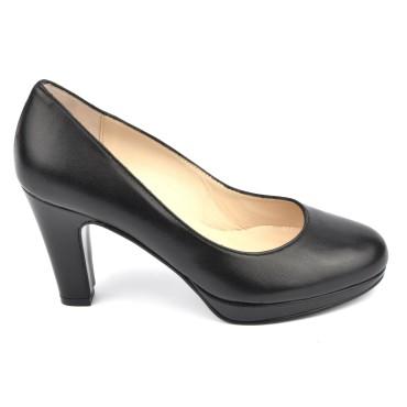 Escarpins plateforme, cuir mat, noir, 4079, Yves de beaumond