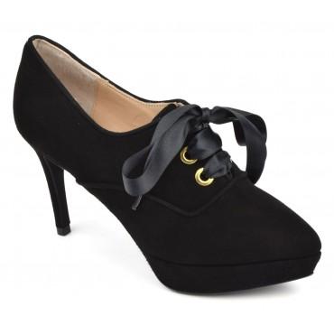 Bottines low boots à lacets, hauts talons, cuir daim noir, ZC0134P, Zoo Calzados