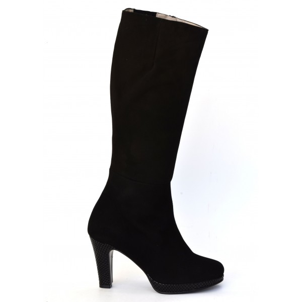Bottes plateforme cuir daim noir et cuir motif serpent noir, 4085