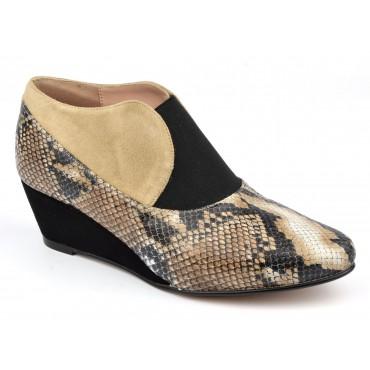 Low boots à talons compensés, cuir morif serpent ZC0254W, Zoo Calzados