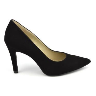 Escarpins cuir daim, noir, bouts pointus, F1058, petites tailles