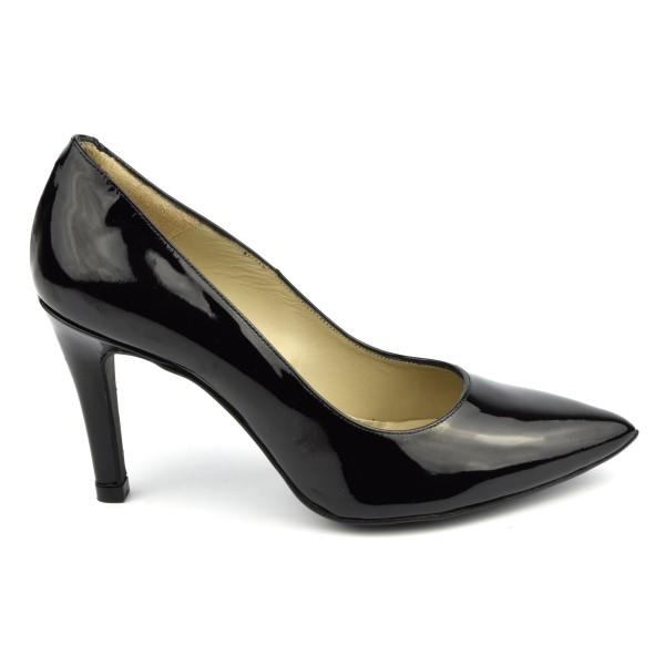 Escarpins cuir verni, noir, bouts pointus, F1058, petites tailles