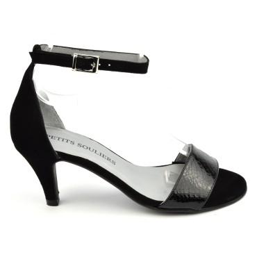 Sandales cuir bi matière daim et calgary noires, Brenda Zaro, Renata
