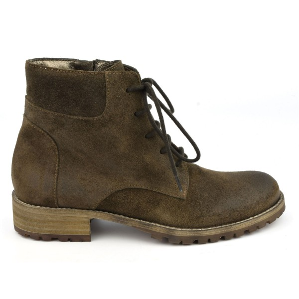 Bottines lacets cuir velour vieilli, taupe, Forest, Nimal