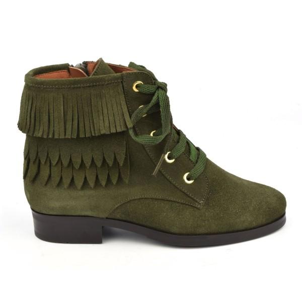 Bottines lacets cuir daim vert kaki à franges, 7233, Dansi