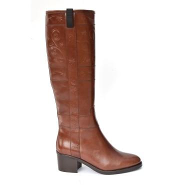 Bottes style cavalières, cuir mat, marron, 7208, Dansi