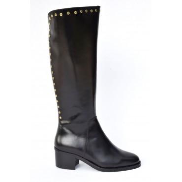 Bottes style cavalières, cuir mat, noir, 7214, Dansi