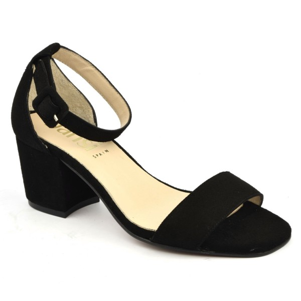 Sandales cuir daim noir, 6951, Dansi Spain