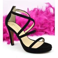 Chaussures de soirée petites pointures, cuir daim noir, 518F, Dansi Spain