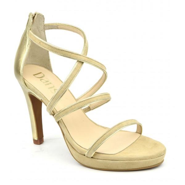 Chaussures de soirée petites pointures, daim beige et cuir mat or, 518F, Dansi Spain