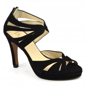 Chaussures de soirée petites pointures, cuir daim noir, 607, Dansi Spain