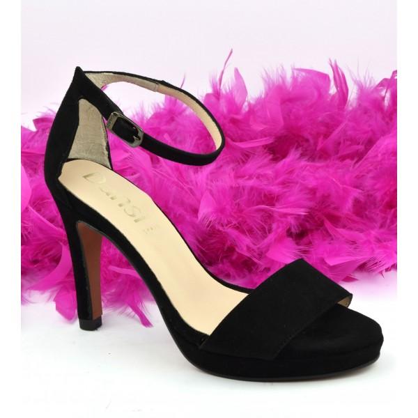 Chaussures de soirée petites pointures, cuir daim noir, 614, Dansi Spain
