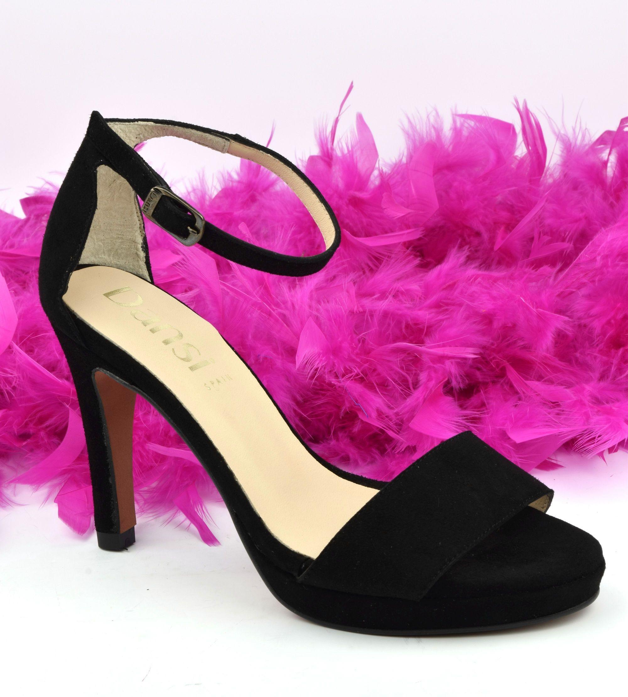 Chaussures de soirée petites pointures, cuir daim noir, 614