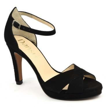 Chaussures de soirée petites pointures, cuir daim noir, 6576, Dansi Spain