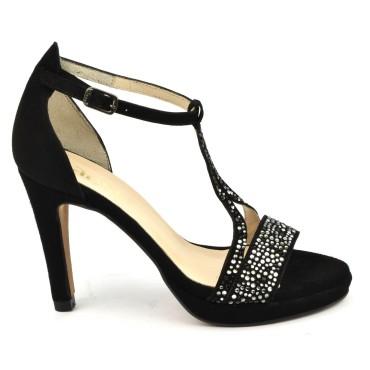 Chaussures de soirée petites pointures, cuir daim noir et strass, 6583, Dansi Spain