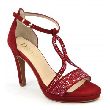 Chaussures de soirée petites pointures, cuir daim rouge et strass, 6583, Dansi Spain